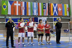 Ceremony before final match in man doubles at Slovenia Open Badminton tournament 2012, on May 13, 2012, in Medvode, Slovenia. (Photo by Grega Valancic / Sportida.com)