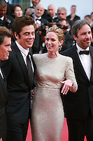 Actors Josh Brolin, Benicio Del Toro, Actress Emily Blunt,  Director Denis Villeneuve at the gala screening for the film Sicario at the 68th Cannes Film Festival, Tuesday May 19th 2015, Cannes, France.