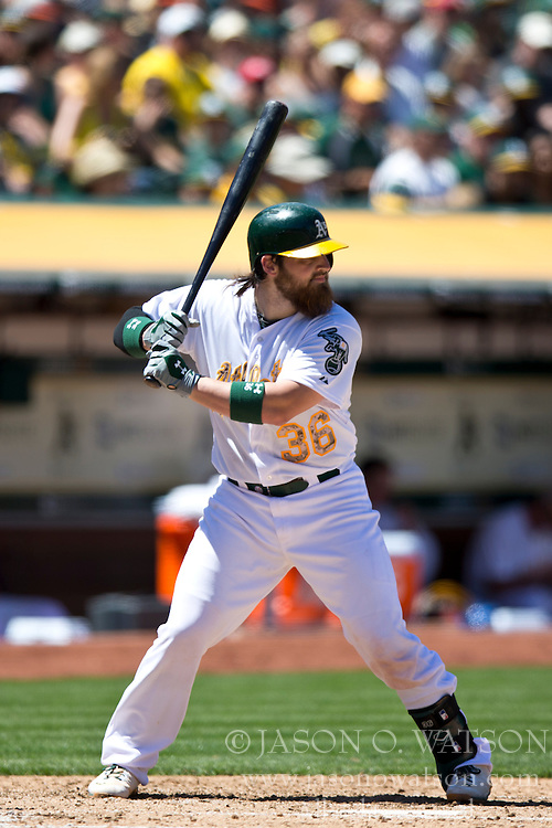 OAKLAND, CA - MAY 26:  Derek Norris #36 of the Oakland Athletics at bat against the Detroit Tigers during the fourth inning at O.co Coliseum on May 26, 2014 in Oakland, California. The Oakland Athletics defeated the Detroit Tigers 10-0.  (Photo by Jason O. Watson/Getty Images) *** Local Caption *** Derek Norris