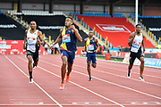 Akeem Bloomfield (JAM) 2nd left, leads the filed in a time of 45.04 to win the men's 400m during the Birmingham Grand Prix, Sunday, Aug 18, 2019, in Birmingham, United Kingdom. (Steve Flynn/Image of Sport via AP)