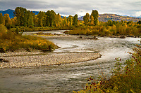 The Gros Ventre River flows through the valley in Grand Teton National Park in Northwestern Wyoming.