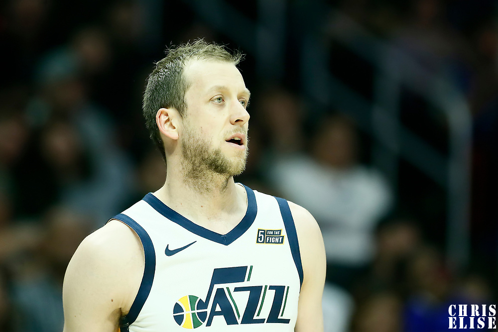 LOS ANGELES, CA - NOV 3: Joe Ingles (2) of the Utah Jazz rests during a game on November 3, 2019 at the Staples Center, in Los Angeles, California.