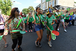 © Licensed to London News Pictures. 27/08/2017. London, UK.  Carnival dancers and performers parade on the first day of the Notting Hill Carnival in West London. It is the second largest street festival in the world after the Rio Carnival in Brazil, attracting over 1 million people. Photo credit: Ray Tang/LNP