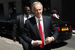 © Licensed to London News Pictures. 27/06/2018. London, UK.  Former Prime Minister Tony Blair arrives at Chatham House to make a speech on Brexit. Photo credit: Peter Macdiarmid/LNP