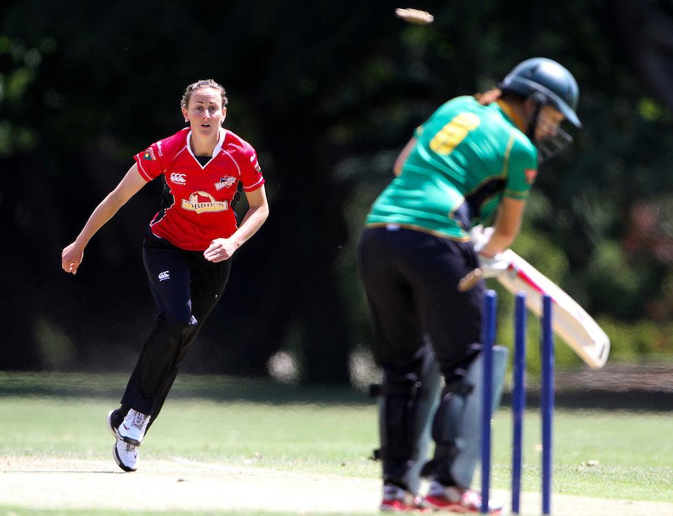 Canterbury's Rachel Candy bowls Central District's Esther Lanser in thier Action Cricket Cup match being played at Cornwall Park, Hastings, New Zeland, Saturday, December 12, 2011 Credit: SNPA / John Cowpland