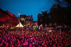 September 18, 2017 - Ljubljana, Slovenia, Slovenia - celebrating after Slovenian basketball team historical win in European Championship in Istanbul on September 18, 2017 in Ljubljana, Slovenia. (Credit Image: © Damjan Zibert/NurPhoto via ZUMA Press)
