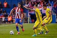 Atletico de Madrid's player Sime Vrsaljko and CF Rostov's player Christian Noboa and Fedor Kudryashov during a match of UEFA Champions League at Vicente Calderon Stadium in Madrid. November 01, Spain. 2016. (ALTERPHOTOS/BorjaB.Hojas)