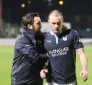 Dundee manager Paul Hartley congratulates James McPake after the derby win - Dundee v Dundee United - SPFL Premiership at Dens Park<br /> <br />  - &copy; David Young - www.davidyoungphoto.co.uk - email: davidyoungphoto@gmail.com