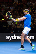 SYDNEY, NSW - JANUARY 07: Rafael Nadal (ESP) hits a backhand at The Sydney FAST4 Tennis Showdown on January 07, 2018, at Qudos Bank Arena in Homebush, Australia. (Photo by Speed Media/Icon Sportswire)