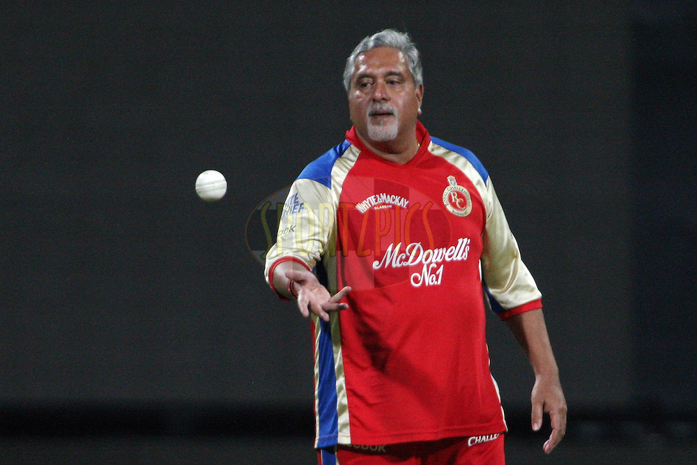 Dr. Vijay Mallya during the celebrity match between the Royal Challengers Bangalore Management and the Kolkata Knight Riders Management held at the Chinnaswamy Stadium, Bangalore, Karnataka, India on the 14th May 2011..Photo by Jacques Rossouw/BCCI/SPORTZPICS.
