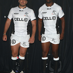 DURBAN, SOUTH AFRICA, December 3 2015 - Dale Chadwick with Wandile Mjekevu during The Cell C Sharks Official Launch and unveiling of The Cell C Sharks Super Rugby Jersey at Growthpoint Kings Park in Durban, South Africa. (Photo by Steve Haag)<br /> images for social media must have consent from Steve Haag
