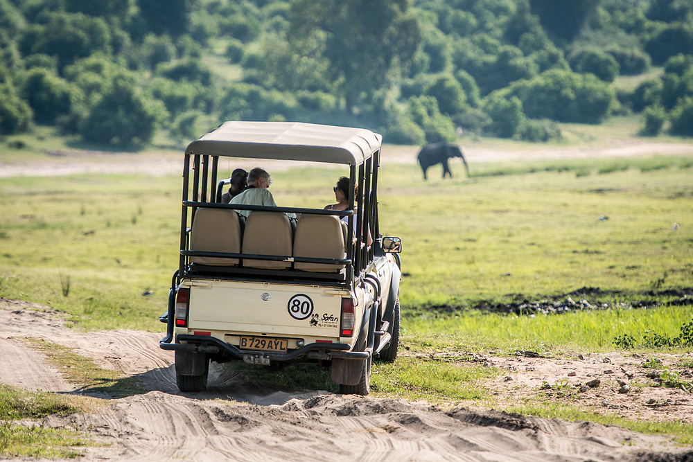 Game viewer vehicle carrying safari goers navigates uneven terrain, Chobe National Park - Botswana