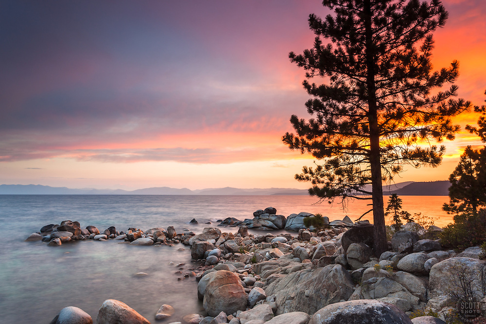 """Tahoe Boulders at Sunset 15"" - Photograph taken at sunset of boulders near Hidden Beach, Lake Tahoe."