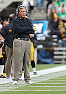 September 24, 2011: Iowa Hawkeyes head coach Kirk Ferentz on the sidelines during the third quarter of the game between the Iowa Hawkeyes and the Louisiana Monroe Warhawks at Kinnick Stadium in Iowa City, Iowa on Saturday, September 24, 2011. Iowa defeated Louisiana Monroe 45-17.