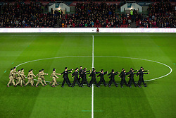Soldiers march out onto the pitch - Rogan Thomson/JMP - 05/11/2016 - FOOTBALL - Ashton Gate Stadium - Bristol, England - Bristol City v Brighton & Hove Albion - Sky Bet Championship.