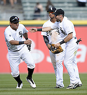 CHICAGO - AUGUST 31:  Adam Eaton #1 of the Chicago White Sox celebrates with teammates after the game against the Detroit Tigers on August 31, 2014 at U.S. Cellular Field in Chicago, Illinois.  (Photo by Ron Vesely)