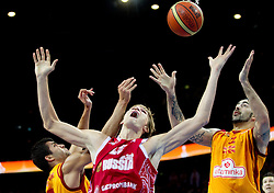 Andrei Kirilenko of Russia between Vojdan Stojanovski of Macedonia and Pero Antic of Macedonia during basketball game between National basketball teams of F.Y.R. of Macedonia and Russia of 3rd place game of FIBA Europe Eurobasket Lithuania 2011, on September 18, 2011, in Arena Zalgirio, Kaunas, Lithuania. Russia defeated Macedonia 72-68 and won bronze medal. (Photo by Vid Ponikvar / Sportida)