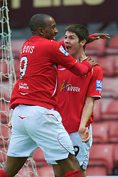 WREXHAM, WALES - Saturday, February 14, 2009: Wrexham's Ryan Flynn, on loan from Liverpool, celebrates scoring the second goal against Grays Athletic with team-mate Jefferson Louis during the Blue Square Premier League match at the Racecourse Ground. (Mandatory credit: David Rawcliffe/Propaganda)