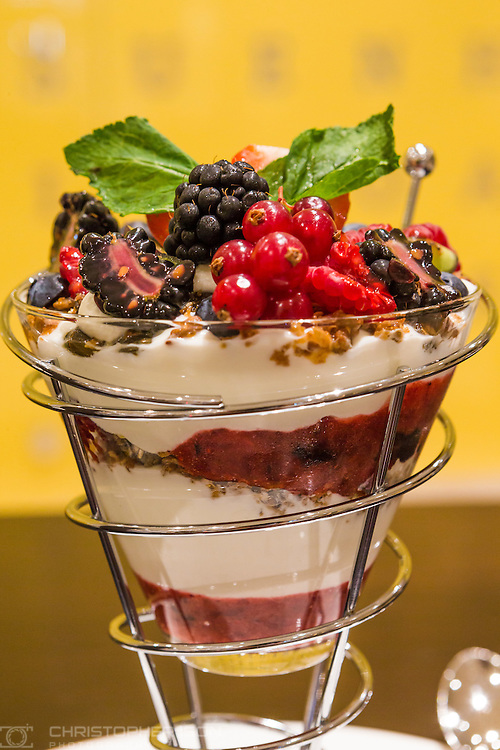 A breakfast fruit and yoghurt dish available in the Market Cafe aboard P&amp;O Cruises'  Britannia.<br /> Picture date: Wednesday June 17, 2015.<br /> Photograph by Christopher Ison &copy;<br /> 07544044177<br /> chris@christopherison.com<br /> www.christopherison.com