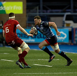 Cardiff Blues' Owen Lane<br /> <br /> Photographer Simon King/Replay Images<br /> <br /> Guinness PRO14 Round 15 - Cardiff Blues v Munster - Saturday 17th February 2018 - Cardiff Arms Park - Cardiff<br /> <br /> World Copyright © Replay Images . All rights reserved. info@replayimages.co.uk - http://replayimages.co.uk