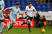 Sunderland defender Billy Jones (2) and Bolton Wanderers defender Andrew Taylor (3) during the EFL Sky Bet Championship match between Bolton Wanderers and Sunderland at the Macron Stadium, Bolton, England on 20 February 2018. Picture by Craig Galloway.