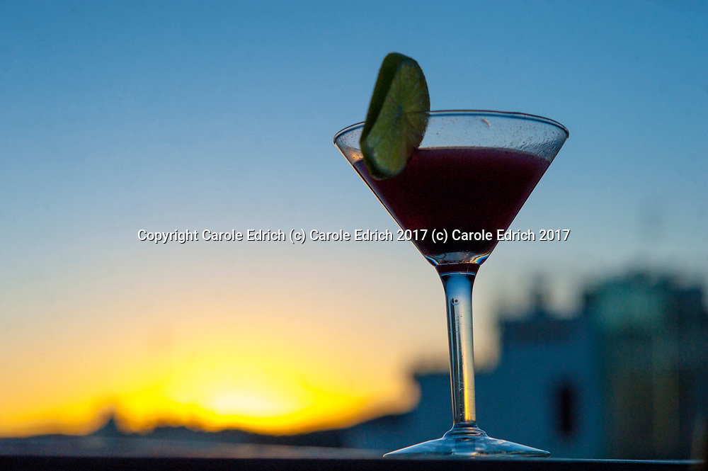 Martini at sunset with view of cathedral at Nakar Hotel. (c) Carole Edrich 2017