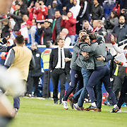 HARRISON, NEW JERSEY- APRIL 10:  Matias Almeyda, Manager of C.D. Guadalajara celebrates his sides two leg win at the final whistle during the New York Red Bulls Vs C.D. Guadalajara CONCACAF Champions League Semi-final 2nd leg match at Red Bull Arena on April 10, 2018 in Harrison, New Jersey. (Photo by Tim Clayton/Corbis via Getty Images)