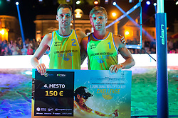 Danijel Pokersnik and Jure Peter Bedrac on fourth place on second place at Beach Volleyball Challenge Ljubljana 2014, on August 2, 2014 in Kongresni trg, Ljubljana, Slovenia. Photo by Matic Klansek Velej / Sportida.com
