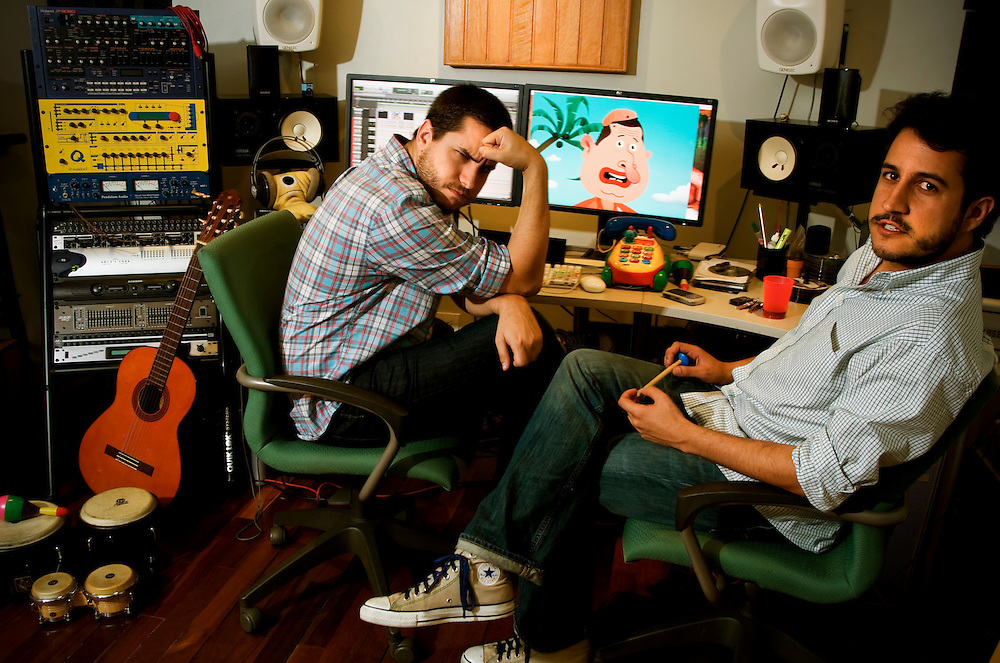 """Juan Andres Ravell, 28, (left) and Oswaldo Graziani Lemoine, 30, (right) creators of """"El Chiguire Bipolar"""" Venezuela's equivalent of The Onion, in their studio in Caracas, Venezuela. President Hugo Chavez is attempting to increase media censorship of news organizations that are critical of the government."""