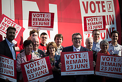 © Licensed to London News Pictures . 13/05/2016 . Liverpool , UK . Labour Party Deputy Leader TOM WATSON with the Labour In for Britain campaign bus and campaigners in Williamson Square in Liverpool . Photo credit : Joel Goodman/LNP