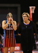 Anna Thompson captain of the Tactix and Leigh Gibbs tactix coach following the ANZ Championship Netball between Mainland Tactix v Melbourne Vixens, held at CBS Arena, Christchurch. 31 March 2014 Photo: Joseph Johnson/www.photosport.co.nz
