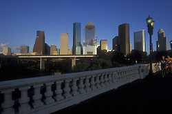 Houston, Texas skyline view from the Sabine Street bridge.