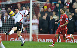 MIDDLESBROUGH, ENGLAND - Saturday, January 12, 2008: Liverpool's Jamie Carragher in action against Middlesbrough during the Premiership match at the Riverside Stadium. (Photo by David Rawcliffe/Propaganda)
