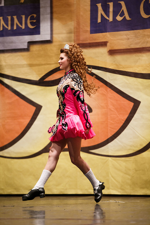 Belgian Irish Dancer Alicia Bellemans, on the the stage. She got to Glasgow for The 46th annual World Irish Dancing Championships at the Glasgow Royal Concert Hall from March 20th- 27th 2016. From Brussels she is the first Belgian to have qualified for the Championships and were not letting the terrorist  attack and airport closures and transport problems beat them to fulfil their passion to compete at Irish Dancing. Alicia said &quot; We have to do what we love. We won't stop, they won't stop our passion for Irish dancing, we are afraid, but we fight&quot;. Alicia had to be in Glasgow for her dance slot at 12.30. She has been on the move since 2am and finally got here via Amsterdam.  Picture Robert Perry 23rd March 2016<br /> <br /> Must credit photo to Robert Perry<br /> FEE PAYABLE FOR REPRO USE<br /> FEE PAYABLE FOR ALL INTERNET USE<br /> www.robertperry.co.uk<br /> NB -This image is not to be distributed without the prior consent of the copyright holder.<br /> in using this image you agree to abide by terms and conditions as stated in this caption.<br /> All monies payable to Robert Perry<br /> <br /> (PLEASE DO NOT REMOVE THIS CAPTION)<br /> This image is intended for Editorial use (e.g. news). Any commercial or promotional use requires additional clearance. <br /> Copyright 2014 All rights protected.<br /> first use only<br /> contact details<br /> Robert Perry     <br /> 07702 631 477<br /> robertperryphotos@gmail.com<br /> no internet usage without prior consent.         <br /> Robert Perry reserves the right to pursue unauthorised use of this image . If you violate my intellectual property you may be liable for  damages, loss of income, and profits you derive from the use of this image.