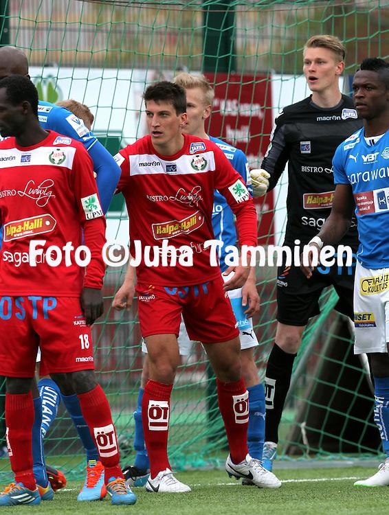 26.5.2014, Keskuskentt&auml;, Rovaniemi.<br /> Veikkausliiga 2014.<br /> Rovaniemen Palloseura - FF Jaro.<br /> Mathias Kullstr&ouml;m - Jaro