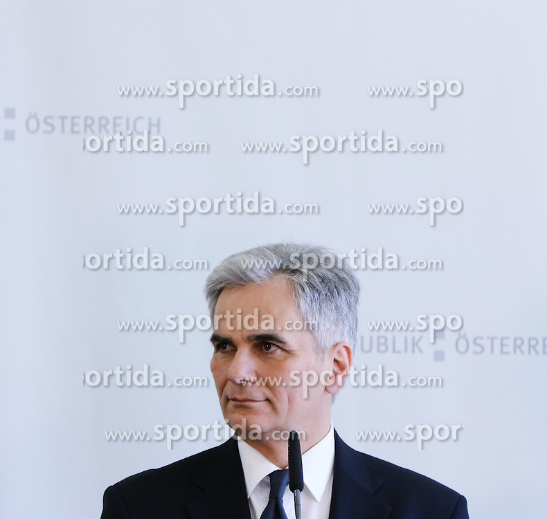 28.03.2015, Congress, Schladming, AUT, Bundeskanzler Werner Faymann trifft Ministerpraesident Miro Cerar, Slowenien, Premierminister Zoran Milanovic, Kroatien, sowie Vizepraesident der Europaeischen Kommission Maros Sefcovic, Kommissar fuer die Energieunion, im Bild Werner Faymann // Federal Chancellor of Austria Werner Faymann during a meeting at congress center in Schladming, Austria on 2015/03/28, EXPA Pictures © 2015, PhotoCredit: EXPA/ Martin Huber