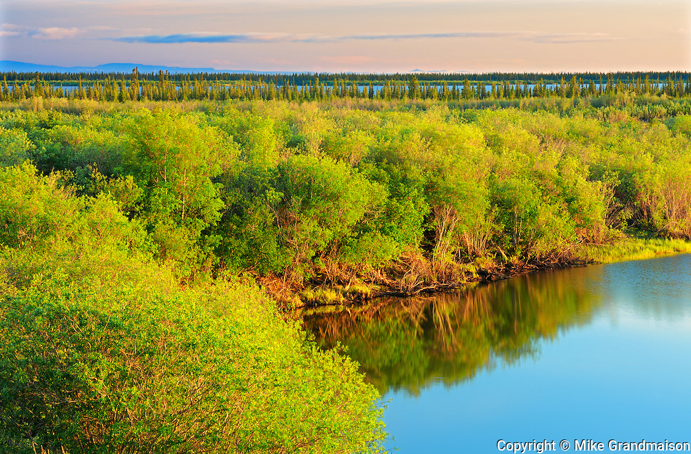 Low sun in middle of the night at Twin Lakes<br /> <br /> Inuvik<br /> Northwest Territories<br /> Canada