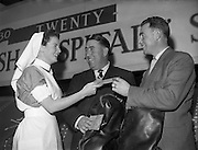 Irish Hospital Sweepstakes Director presenting Free Air Tickets to Harry Bradshaw and Christy O'Connor for their flight to Canada. They are to encourage World Famous Golfers to come to Ireland..21/01/1959.