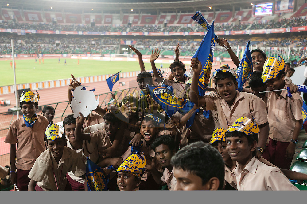 School kids during match 53 of the Hero Indian Super League between Chennaiyin FC and Delhi Dynamos held at the Jawaharlal Nehru Stadium, Chennai, India on the 9th December 2014.<br /> <br /> Photo by:  Saikat Das/ ISL/ SPORTZPICS