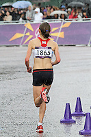 LONDON - AUGUST 05: Freya Murray runs for Great Britain in the Women's Olympic Marathon, Buckingham Palace, London, UK. August 05, 2012. (Photo by Richard Goldschmidt)
