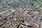 Nederland, Noord-Holland, gemeente Alkmaar, 20-04-2015; binnenstad van Alkmaar met onder in beeld Waagplein. Aan het plein de Waag met Het Hollands Kaasmuseum. Boven in beeld Grote kerk of Sint-Laurenskerk.<br /> Alkmaar inner city with cheese weigh house.<br /> luchtfoto (toeslag op standard tarieven);<br /> aerial photo (additional fee required);<br /> copyright foto/photo Siebe Swart