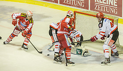 02.10.2015, Stadthalle, Klagenfurt, AUT, EBEL, EC KAC vs HC TWK Innsbruck Die Haie, im Bild Markus Pöck (EC KAC, #92), Daniel Ban (EC KAC, #11), David Liffton (HC TWK Innsbruck Die Haie #48), Andy Chiodo (HC TWK Innsbruck Die Haie #30) Tyler Spurgeon (HC TWK Innsbruck Die Haie #19) // during the Erste Bank Eishockey League match betweeen EC KAC and HC TWK Innsbruck Die Haie at the City Hall in Klagenfurt, Austria on 2015/190/02. EXPA Pictures © 2015, PhotoCredit: EXPA/ Gert Steinthaler