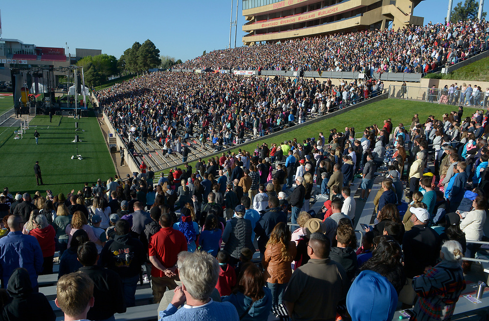 gbs041617b/ASEC -- The westside of University Stadium is filled during the Calvary Albuquerque's  Easter Sunrise Service: Against All Odds on Sunday, April 16, 2017. (Greg Sorber/Albuquerque Journal)