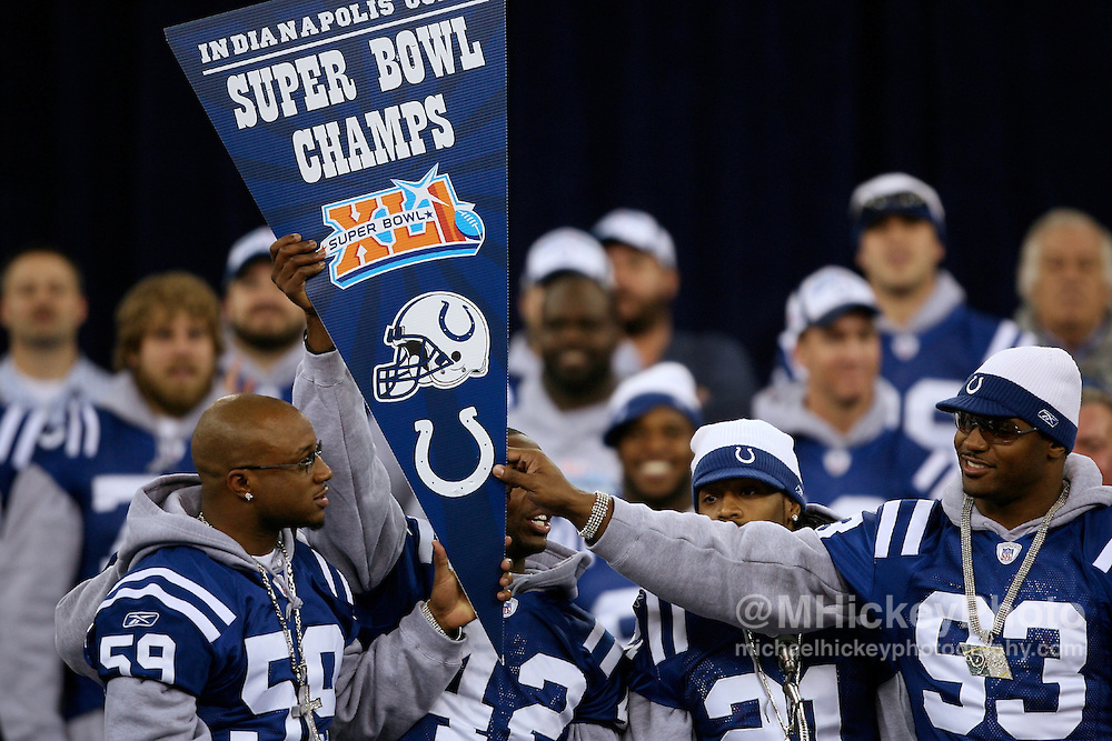 Members of the Indianapolis Colts defense on stage at the Super Bowl Victory Celebration at the RCA Dome in Indianapolis, Indiana on February 5, 2007.