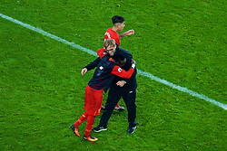 LIVERPOOL, ENGLAND - Monday, December 19, 2016: Liverpool's match-winning goal-scorer Sadio Mane celebrate a late 1-0 victory over Everton with manager Jürgen Klopp in the FA Premier League match, the 227th Merseyside Derby, at Goodison Park. (Pic by Gavin Trafford/Propaganda)
