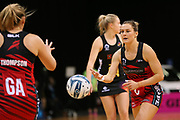 Tactix centre Nicola Mackle passes to Tactix goal attack Anna Thompson during the ANZ Premiership netball match - Magic v 170529 ANZ Premiership - Magic v Tactix played at Claudelands Arena, Hamilton, New Zealand on Monday 29 May 2017. Copyright photo: Bruce Lim / www.photosport.nz