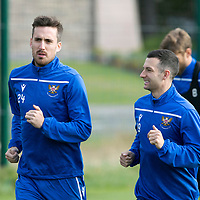 St Johnstone Training….<br />Callum Booth and Jason Holt pictured during training at McDiarmid Park ahead of Sunday's game against Rangers<br />Picture by Graeme Hart.<br />Copyright Perthshire Picture Agency<br />Tel: 01738 623350  Mobile: 07990 594431