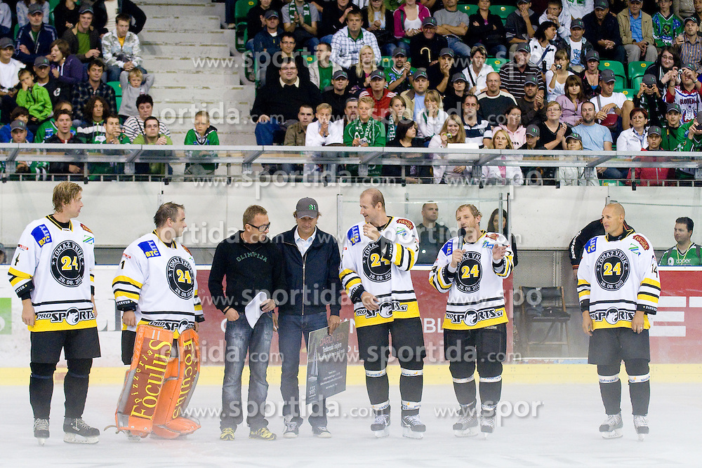 "Tomaz Vnuk with ""Brothers from the street"" in Tomaz Vnuk's exhibition game between team HDD Tilia Olimpija and team 24 Ever on August 28, in Ljubljana, Slovenia. (Photo by Matic Klansek Velej / Sportida)"