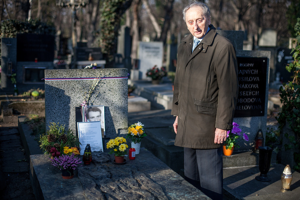 Jakub Trojan - who was the former dean of the Protestant Theological Faculty of Charles University in Prague - at the grave of Jan Palach. Trojan was the priest who buried student Jan Palach in 1969 who committed self-immolation as a political protest against the end of the Prague Spring resulting from the 1968 invasion of Czechoslovakia by the Warsaw Pact armies. &ldquo;In this cynical century in which we are often scared by others and others are scared by us, in a century in which we are often startled at our own small-mindedness, he made us ask a question that can make great people of us: What did I do for others, what is my heart like, what is my aim, and what is the highest priority in my life?&rdquo;<br /> <br /> Speech of Pastor Jakub S. Trojan at Jan Palach&rsquo;s grave, 25 January 1969