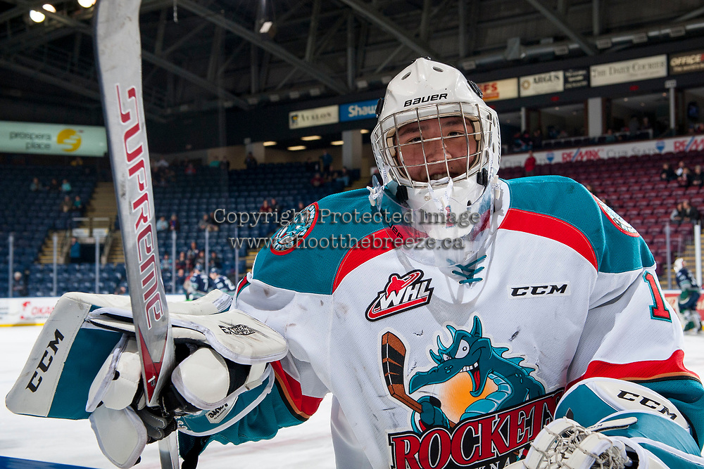 KELOWNA, CANADA - JANUARY 5: James Porter #1 of the Kelowna Rockets skates to the bench during warm up against the Seattle Thunderbirds on January 5, 2017 at Prospera Place in Kelowna, British Columbia, Canada.  (Photo by Marissa Baecker/Shoot the Breeze)  *** Local Caption ***
